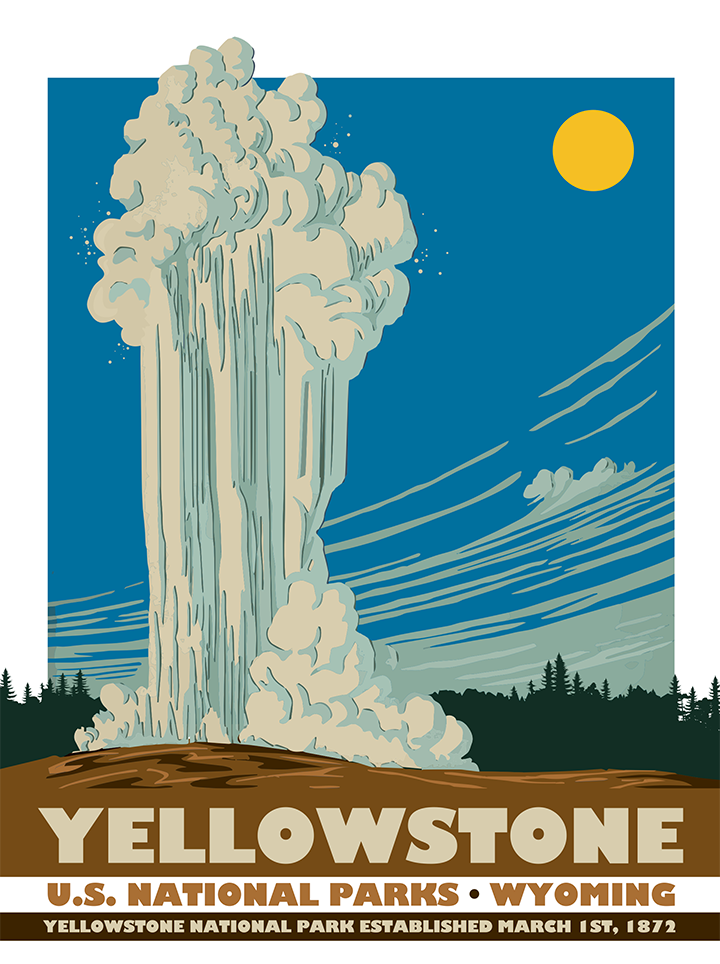 Yellowstone National Park Map 24x36 Poster