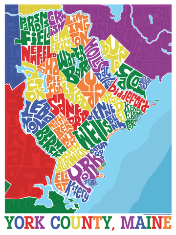 York, Maine Type Map Poster