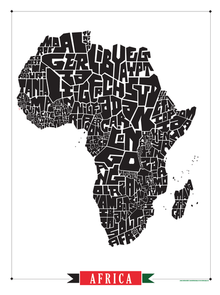 africa map art africa type map poster i lost my 10025