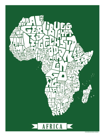 Africa Type Map Poster I Lost My Dog