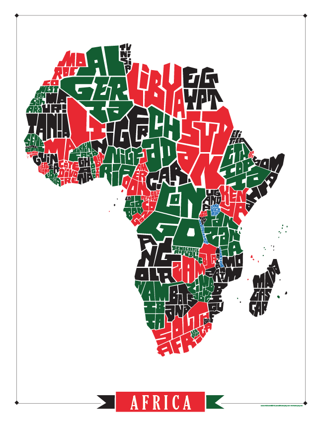 Africa Type Map Poster – I Lost My Dog