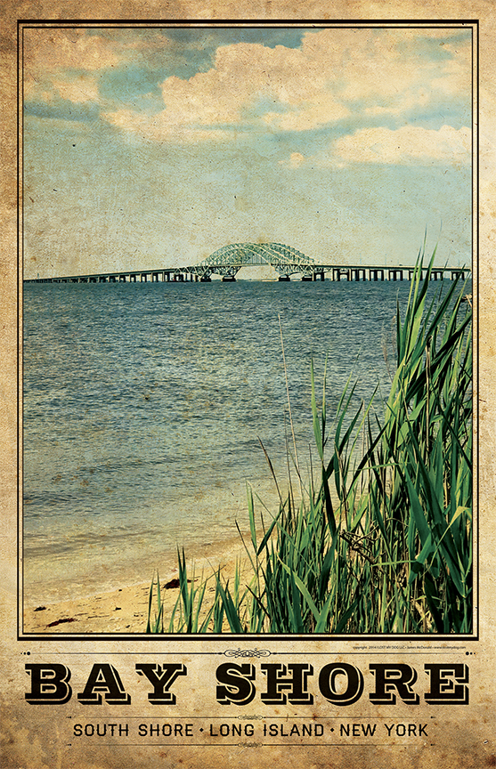 Bay Shore & Great South Bay Vintage Travel Poster