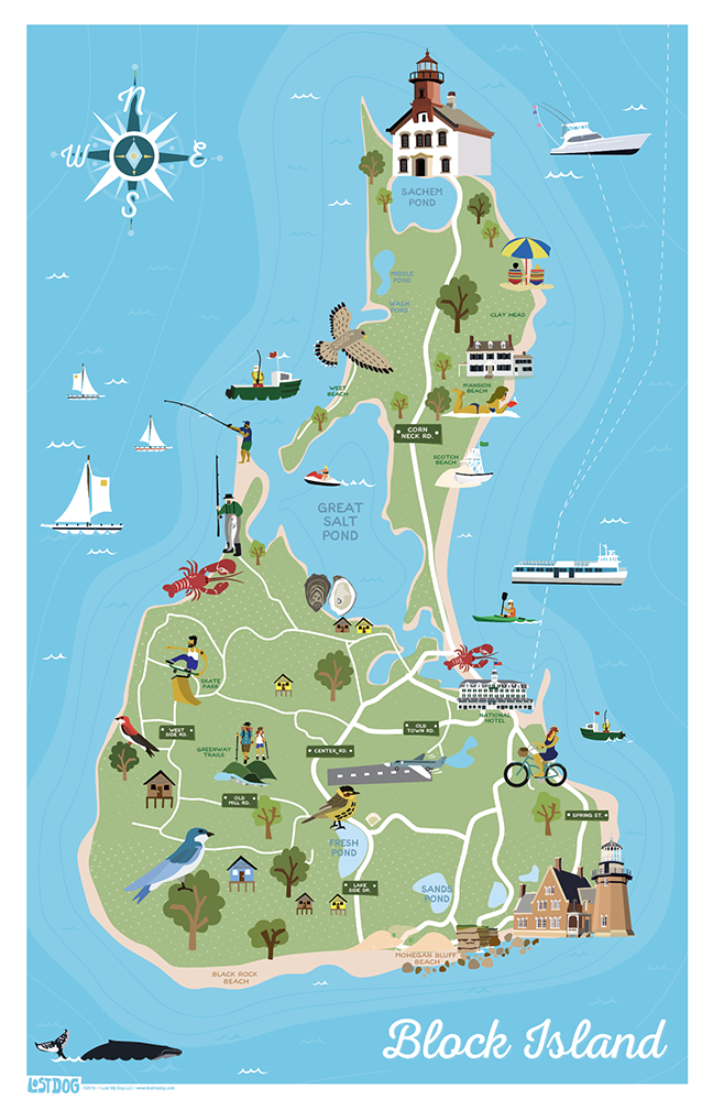 Block Island Illustrated Map