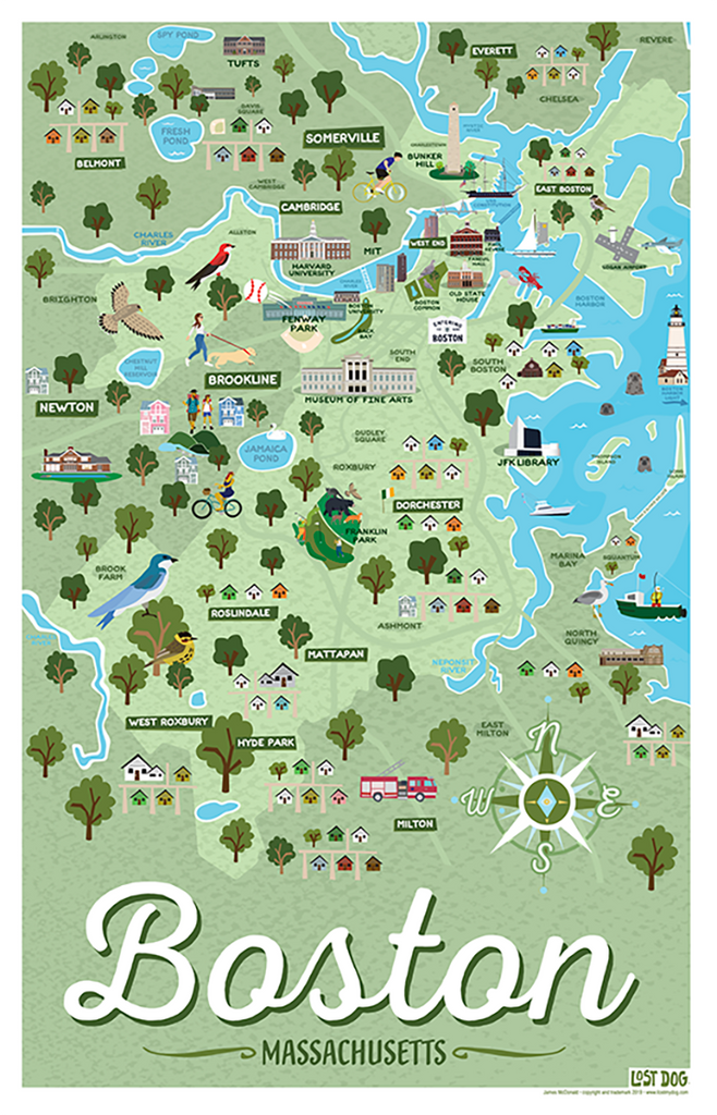 Boston Massachsuetts Illustrated Map