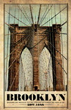 Brooklyn Bridge Vintage Travel Poster