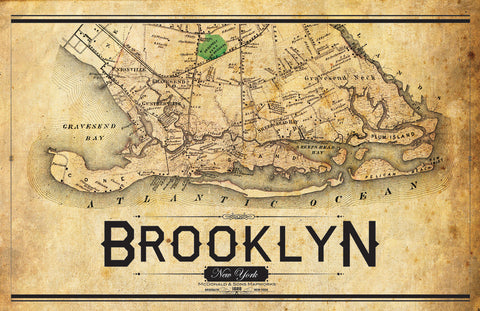 South Brooklyn Vintage Map I Lost My Dog