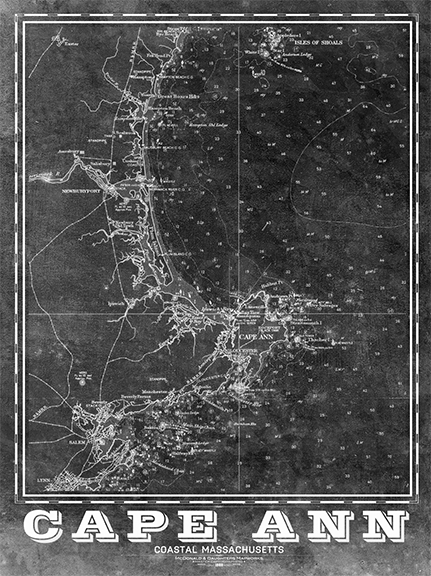 Cape Ann Vintage Nautical Map