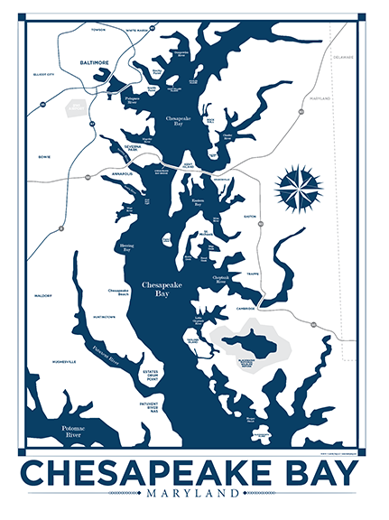 Chesapeake Bay Nautical Map