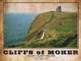 Cliffs of Moher Vintage Travel Poster