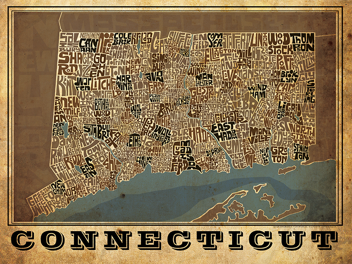 Connecticut Towns Type Map Poster