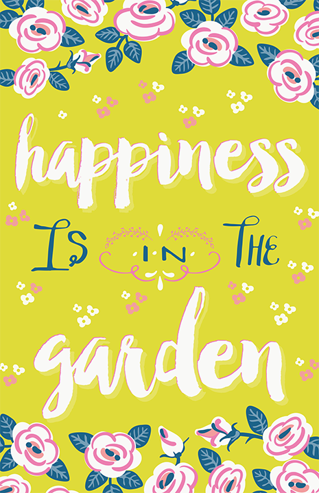 Happiness is in the Garden Illustration