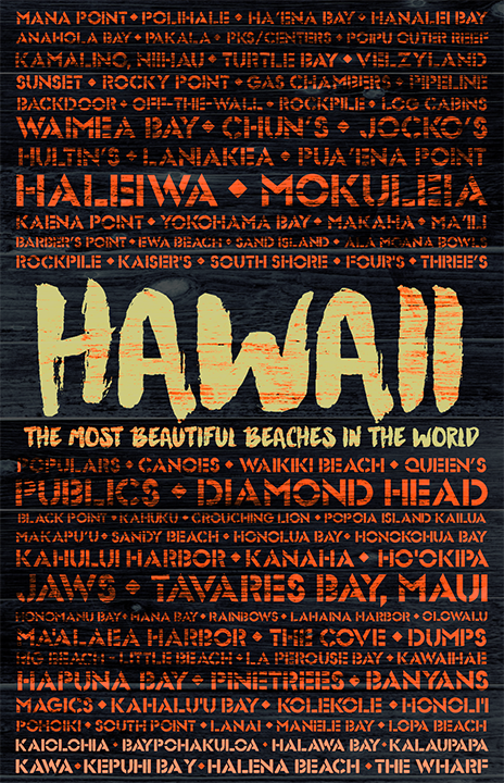 Hawaii Beaches Wooden Plank Replica Signs