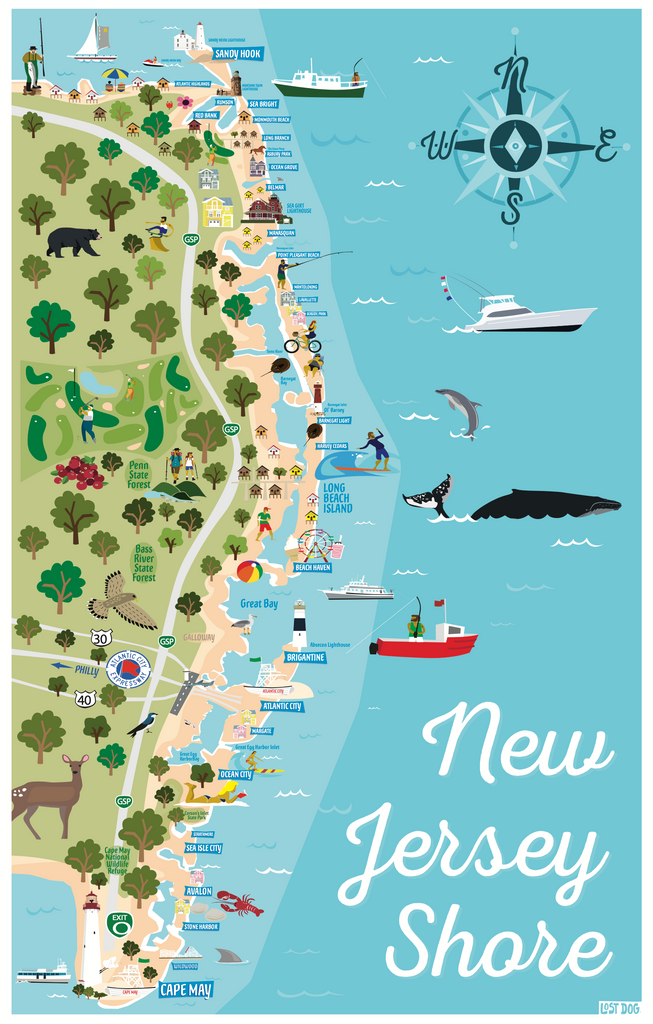 Jersey Shore Illustrated Map