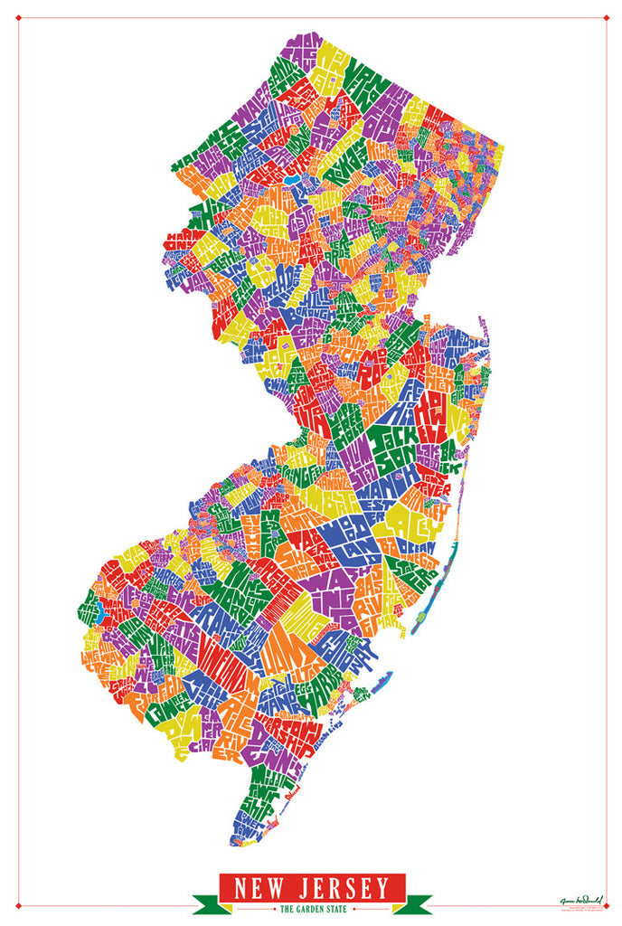 New Jersey Town Type Map Litho