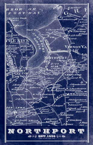 Northport Long Island Vintage Remixed Map