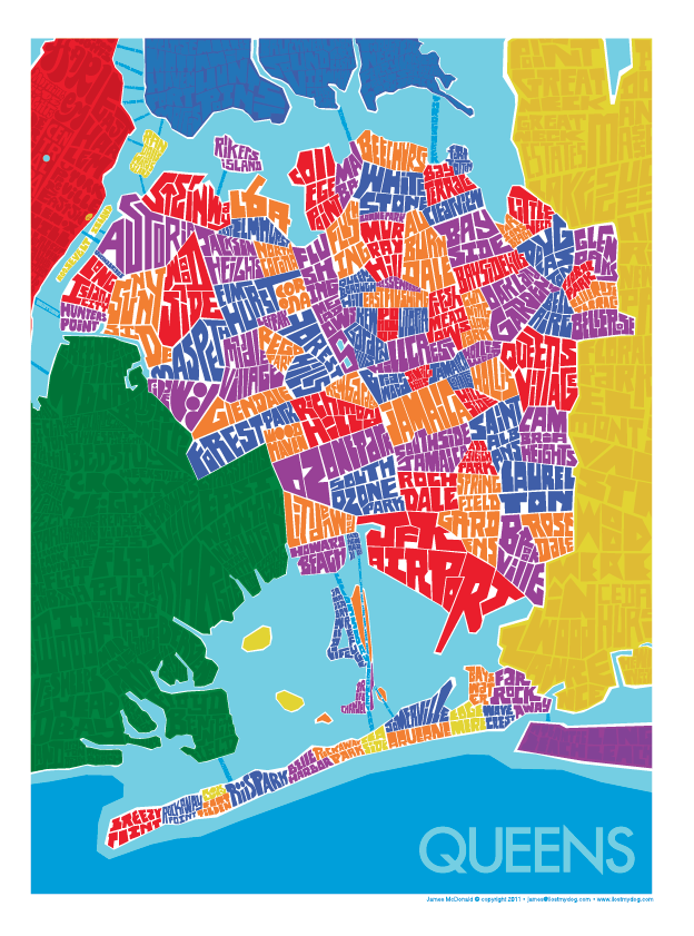 Queens, NY Hand Lettered Type Map – I Lost My Dog on