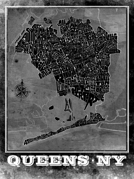Queens, NY Hand Lettered Type Map