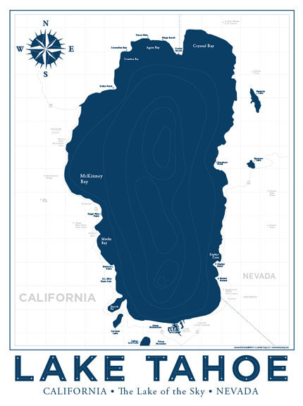 photograph about Printable Map of Lake Tahoe known as Lake Tahoe Nautical Map