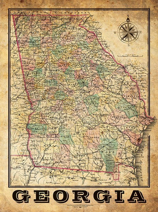 Georgia Vintage Map – I Lost My Dog