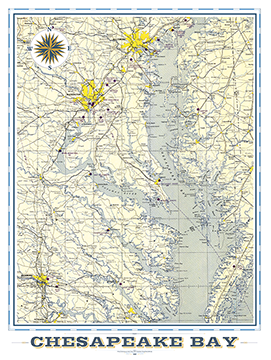 Chesapeake Bay Area Vintage Map