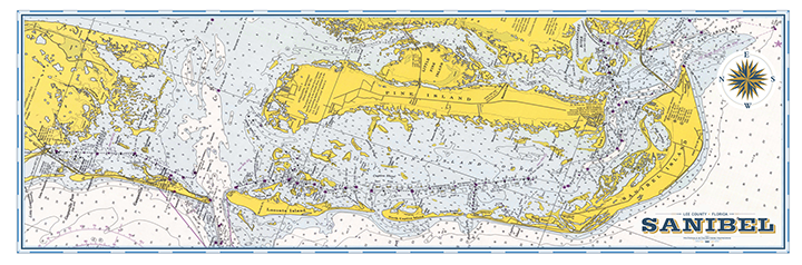 Sanibel Island Vintage Nautical Map