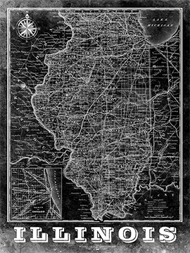 Illinois Vintage Map