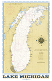 Lake Michigan Vintage Nautical Map