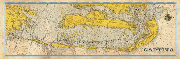 Captiva Island Vintage Nautical Map