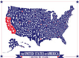 United States Hand Drawn Type Map