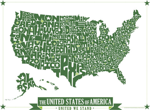 United States Hand Drawn Type Map I Lost My Dog - Large map of us states