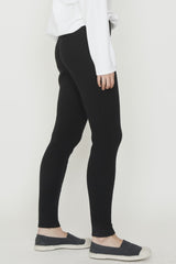 Black 1X1 Cotton Rib Legging