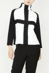 White Textured Crepe and Black 1x1 Rib Turtleneck Cross Top