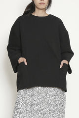 Black 1X1 Rib Oversized Sweater Top with Patch Pockets