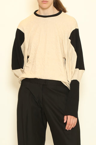 Black and Cream Knit Box Sleeve Long Sleeve Top