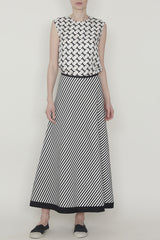 Black and White Jersey Stripe Long A-Line Skirt with Black Accent Trim Detail