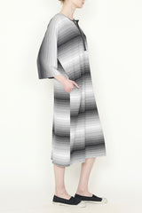 Black and White Gradient Stripe Jersey One-Size-Fits-All Caftan