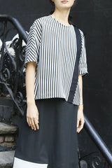 Black and White Jersey Stripe Crescent Top with Welt Pocket