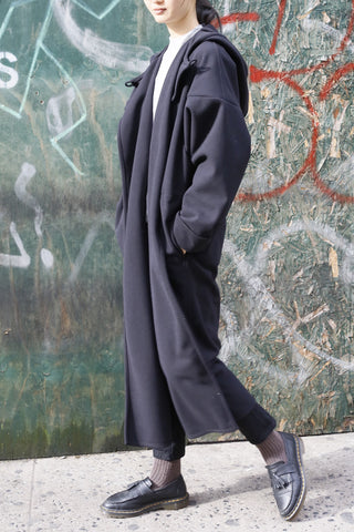 Black Lightweight Wool Blend Long Hooded Drop Shoulder Coat