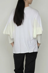 Cream and White Jersey Box Sleeve Tee