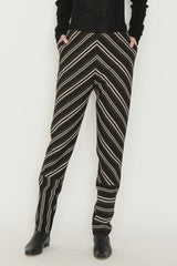 Multicolor Striped Jersey Slim Fit Back Zip Combo Pedal Pusher Pant