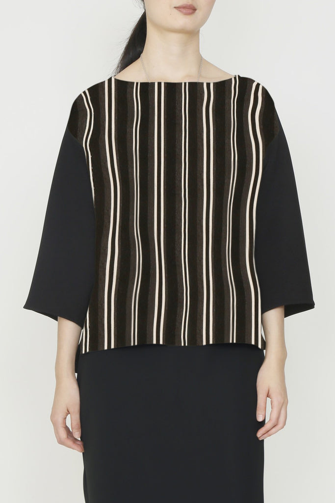 Multicolor Stripe Jersey and Black Microfiber Smart Gabardine Combo Travel Tunic