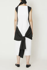 Black and White Cotton Dress with Front and Back Ties