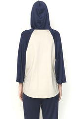 Double Knit Sand Jersey and Indigo Cupro Jersey Hoodie