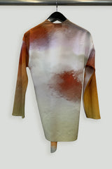 Watercolor Effect Silk Print Right Angle Wrap Top