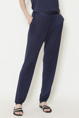 Indigo Sateen Jersey Tapered Slim Pant with Flat Front and Elasticated Back Waist