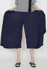 Indigo Cupro Sateen Jersey Skirt Pant with Navy Striped Linen Pocket Trim