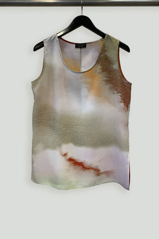Watercolor Effect Silk Print Long Tank