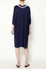 Indigo Cupro Sateen Jersey Dolman Sleeve Leaf Front Dress with Striped Linen Trim
