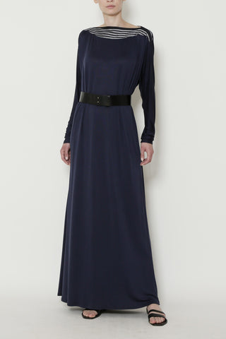 Indigo Cupro Sateen Jersey Boatneck Full-Length Long Sleeve Dress with Striped Linen Neck Trim