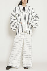 Black and White Linen Cotton Morse Code Zero Waste Sustainable One-Size-Fits-All Jacket